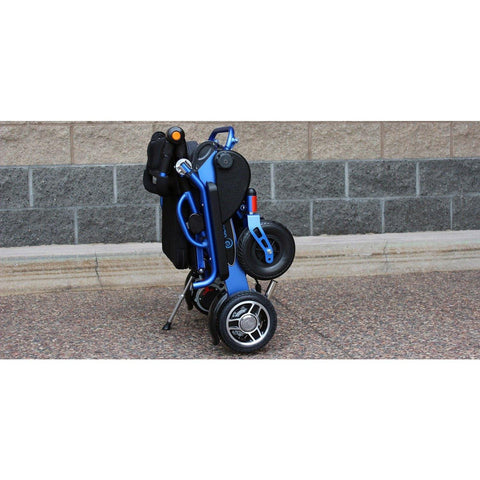 Geocruiser (Pathway Mobility): Geo Cruiser DX Lightweight Foldable Power Chair (Blue) - GC-216B-01 - Folded Standing View in Actual