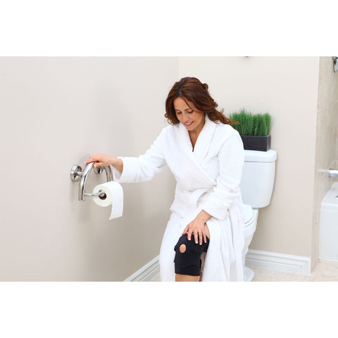 Grabcessories: 2-in-1 Grab Bar Toilet Paper Holder Wgrips & Hollow Wall Anchors - 61022 Polished Chrome - Use in Bath