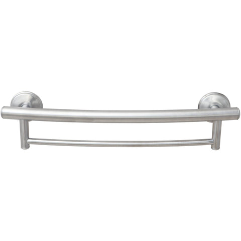Grabcessories: 2-in-1 Grab Bar Towel Bar w/Grips & Hollow Wall Anchors - 61030 Brushed Nickel - Front View