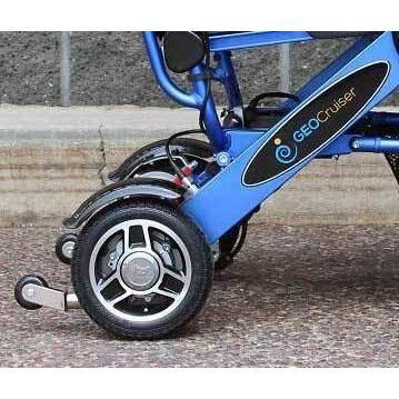 Geocruiser (Pathway Mobility): Geo Cruiser DX Lightweight Foldable Power Chair (Blue) - GC-216B-01 - Rear wheel Closeup View