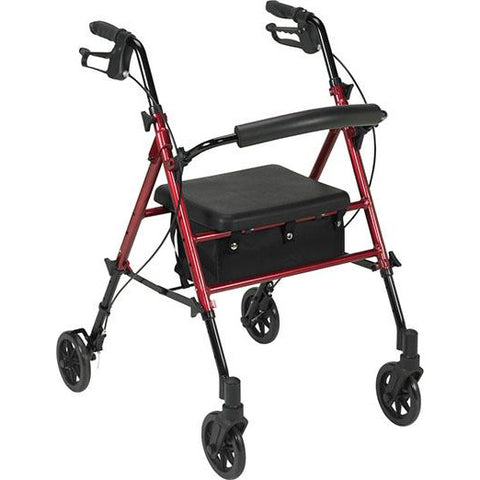 "FEI: Adjustable Height Rollator, 6"" Casters, Color Red - 70-0584 - Actual Image"