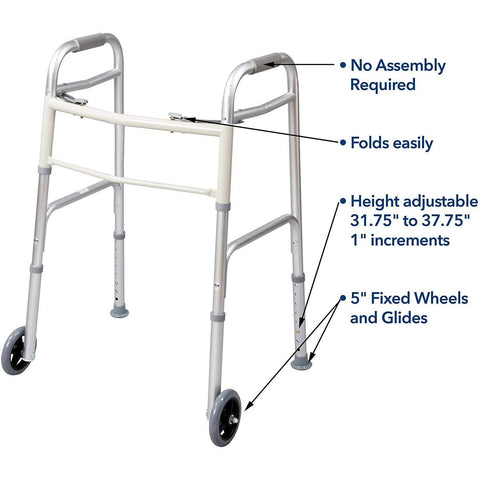 "Carex: Dual-Button Walker with 5"" Wheels - FGA84790 0000 - Instructions Photo"