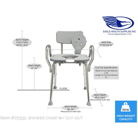 Eagle Health: Shower Chair w/Cut-Out, w/Back & Arms a-72331