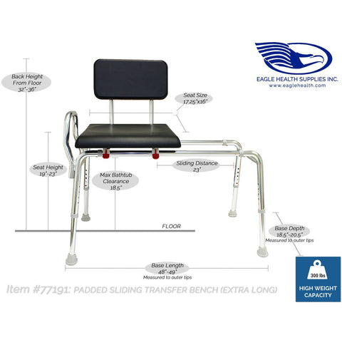 Eagle Health: Padded Sliding Transfer Bench (Extra Long) a-77191