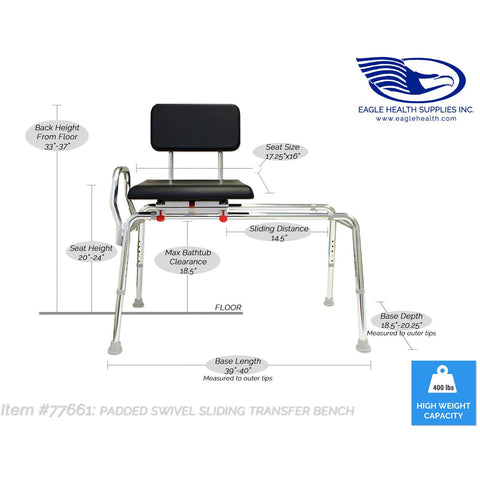 Eagle Health: Padded Swivel Sliding Transfer Bench (Regular) - 77661