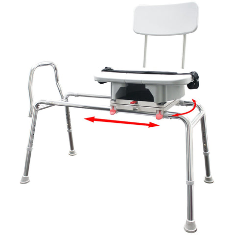 Eagle Health: Swivel Sliding Transfer Bench w/Cut-Out (Extra Long) - 77693