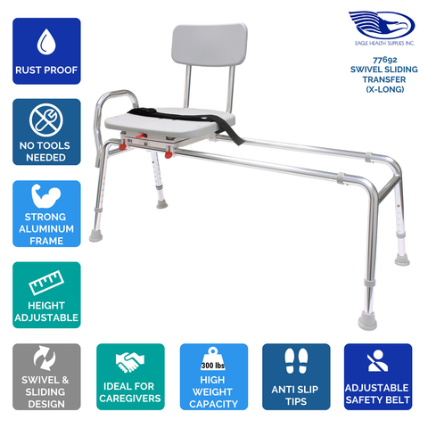 Eagle Health: Swivel Sliding Transfer Bench (Extra Long) - 77692