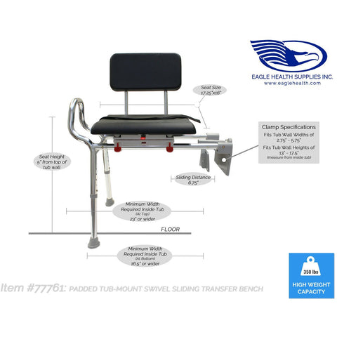 Eagle Health: Padded Tub-Mount Swivel Sliding Transfer Bench - 77761