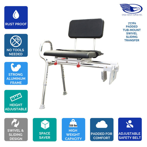 Eagle Health: Padded Tub-Mount Swivel Sliding Transfer Bench a-77761