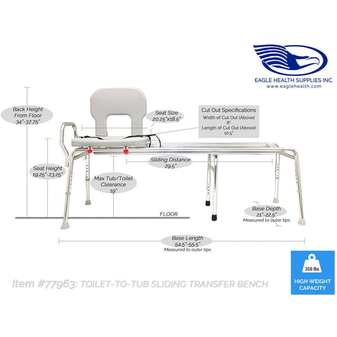 Eagle Health: Toilet-to-Tub Sliding Transfer Bench (XX Long) a-77993