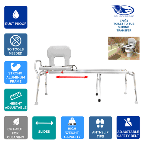 Eagle Health: Toilet-to-Tub Sliding Transfer Bench (Long) a-77963