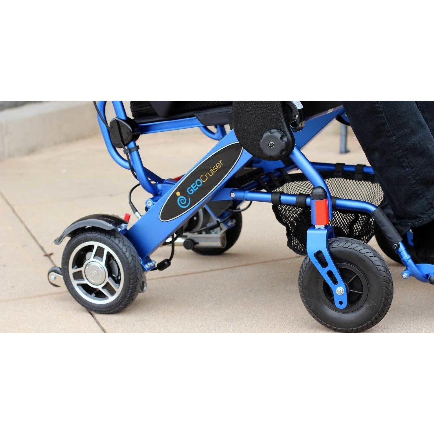 Geocruiser (Pathway Mobility): Geo Cruiser DX Lightweight Foldable Power Chair (Blue) - GC-216B-01 - Underseat Basket View