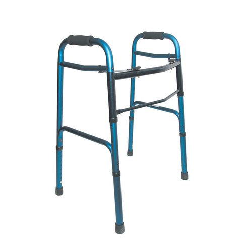 Healthsmart: DMI Lightweight Folding Walker With Two Button Release, Blue/Blue Ice - 802-1044-0100 - Side View