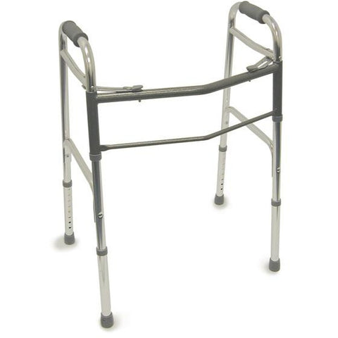 Healthsmart: DMI Lightweight Folding Walker With Two Button Release, Silver/Gray - 802-1044-0600 - Actual Image
