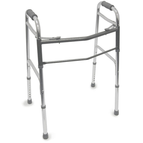 Healthsmart: DMI Lightweight Folding Walker With Two Button Release, Silver/Gray - 802-1044-0600 - Front View