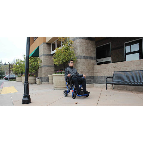 Geocruiser (Pathway Mobility): Geo Cruiser LX Lightweight Foldable Power Chair (Blue) - GC-316B - Actual Front View