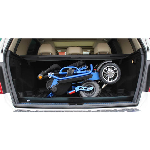 Geocruiser (Pathway Mobility): Geo Cruiser LX Lightweight Foldable Power Chair (Blue) - GC-316B - Folded in Car View