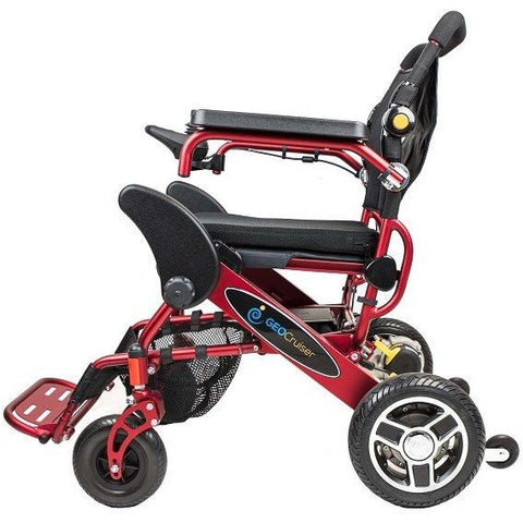 Geocruiser (Pathway Mobility): Geo Cruiser Elite EX Lightweight Foldable Power Chair (RED) - GC-416R - Side View