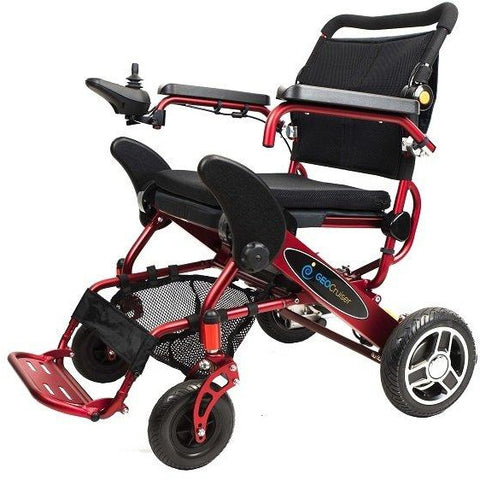 Geocruiser (Pathway Mobility): Geo Cruiser Elite EX Lightweight Foldable Power Chair (RED) - GC-416R - Underseat Basket