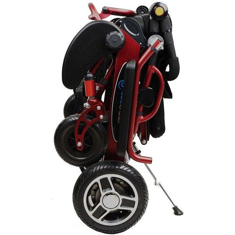 Geocruiser (Pathway Mobility): Geo Cruiser Elite EX Lightweight Foldable Power Chair (RED) - GC-416R - Folded Standing View
