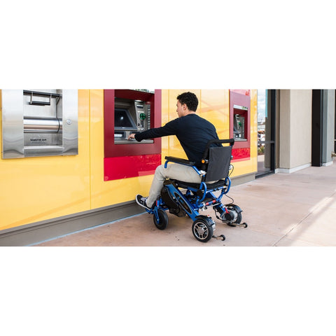Geocruiser (Pathway Mobility): Geo Cruiser LX Lightweight Foldable Power Chair (Blue) - GC-316B - Actual Back View
