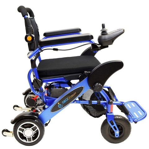 Geocruiser (Pathway Mobility): Geo Cruiser LX Lightweight Foldable Power Chair (Blue) - GC-316B - Side View