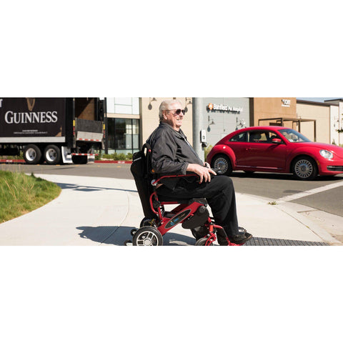 Geocruiser (Pathway Mobility): Geo Cruiser Elite EX Lightweight Foldable Power Chair (RED) - GC-416R - Actual Side View