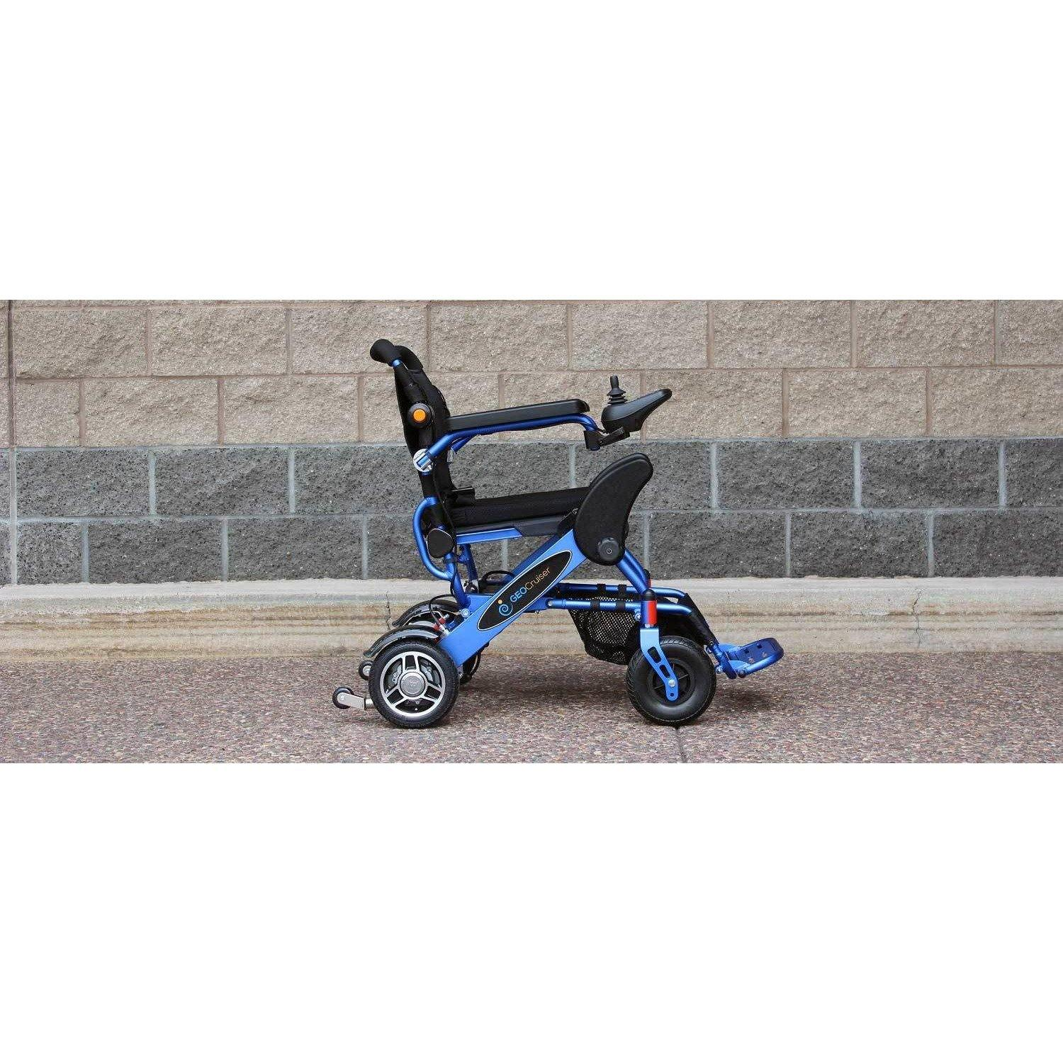 Geocruiser (Pathway Mobility): Geo Cruiser DX Lightweight Foldable Power Chair (Blue) - GC-216B-01 - Actual Side View