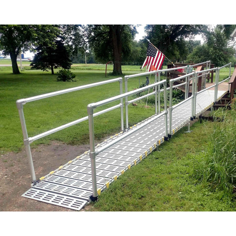 Roll-A-Ramp: Aluminium Handrails - Straight End Design