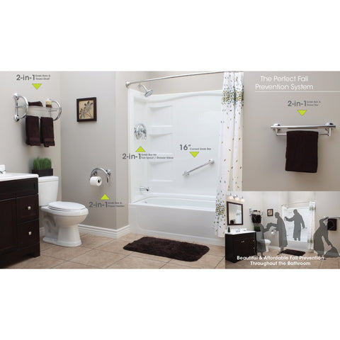 Grabcessories: 16 inch Curved Transitional Grab Bar w/ Grips & Hollow Wall Anchors - 61026 Polished Chrome - Adjust in Bath