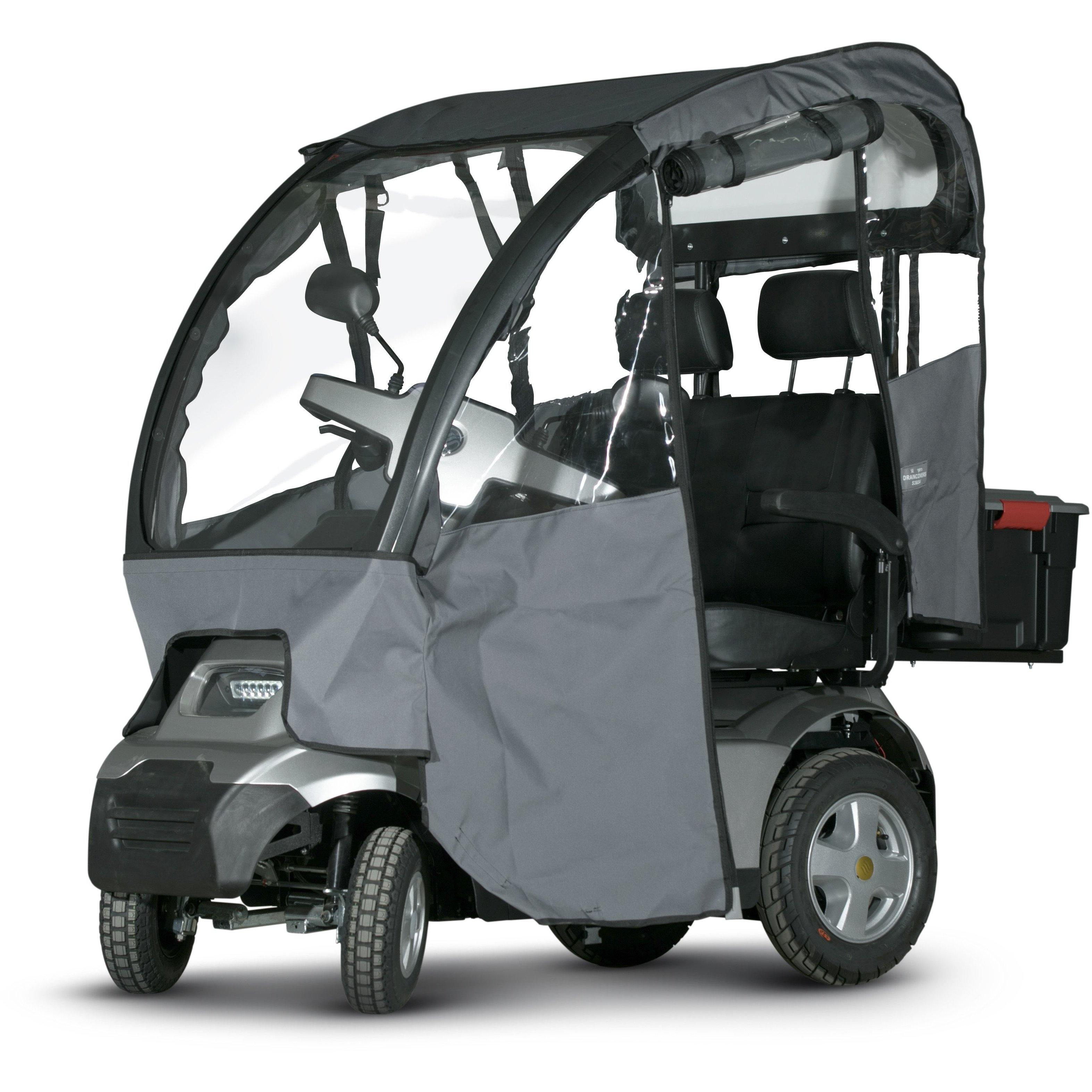 Dual seat Afiscooter with rain sides and roof
