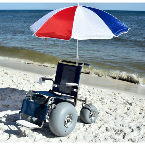 Debug Mobility: Fixed Frame All-Terrain Beach Wheelchair - Front View with Umbrella Accessory
