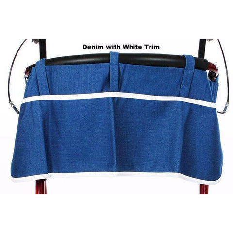 Granny Jo Products: Rollator Apron - Denim with Whit Trim
