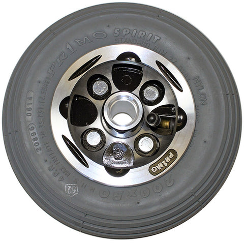 "New Solutions: 8 x 2"" Alloy Wheel Two Piece Caster with 2 1/2"" Hub Width Pneumatic Tire / Tube - CW272"