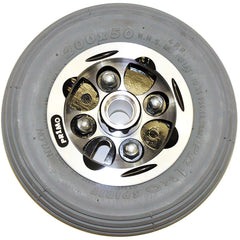 "New Solutions: 8 x 2"" Alloy Wheel Two Piece Caster 5/16"" Bearings 2 1/2"" Hub Width Foam Filled Tire - CW273"