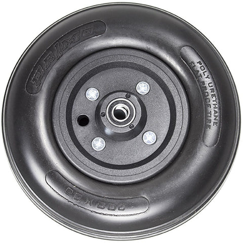 "New Solutions: 8 x 2"" Two Piece Caster (Black) 7/16"" Bearings 2 1/2"" Hub Width Urethane Tire - CWB201 - Front View"