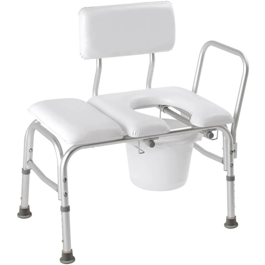 Compass Health: Carex Deluxe Padded Transfer Bench with Opening & Bucket - FGB15211 0000 Main View