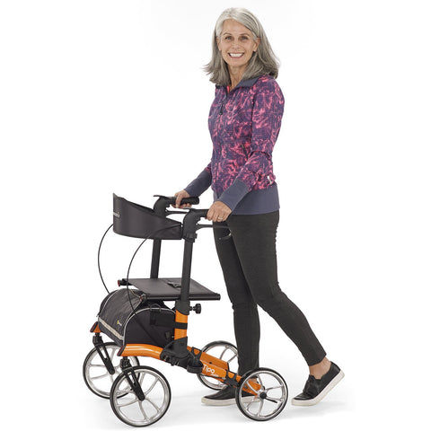 Comodita: Tipo Petite Walker Rollator - COM 910  Orange Side View