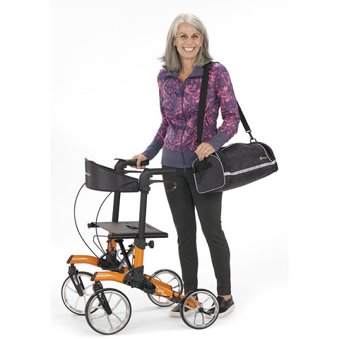 Comodita: Tipo Petite Walker Rollator - COM 910 Orange Side View with Transport Bag