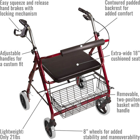 Healthsmart: DMI® Lightweight Extra-Wide Heavy-Duty Aluminum Rollator - 501-1029-0700 - Parts Name