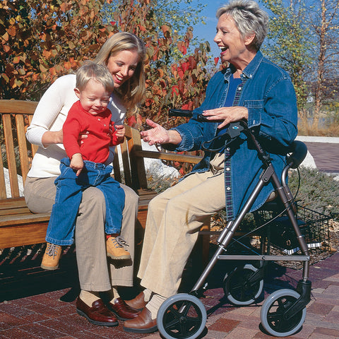 Healthsmart: DMI® Lightweight Extra-Wide Heavy-Duty Aluminum Rollator - 501-1029-0700 - Side View