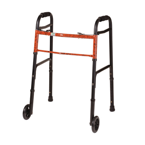 Healthsmart: DMI Two-Button Release Folding Walker With Wheels, 2 Per Pack - 500-1045-0100 - Black and Copper Swirl
