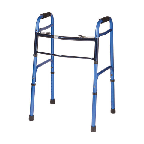 Healthsmart: DMI Two-Button Release Folding Walker With Wheels, 2 Per Pack - 500-1045-0100 - Blue & Ice Color