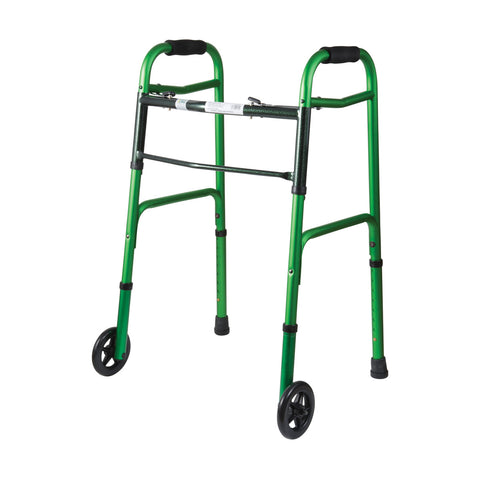 Healthsmart: DMI Two-Button Release Folding Walker With Wheels, 2 Per Pack - 500-1045-0100 - Green and Green Ice Color