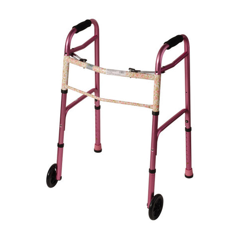 Healthsmart: DMI Two-Button Release Folding Walker With Wheels, 2 Per Pack - 500-1045-0100 - Pink Floral Color