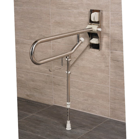 Arc First: Fold Up Support, with Adjustable Leg, Stainless Steel - 01830-SS - Right View