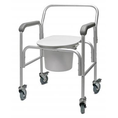 Graham-Field: 3-in-1 Aluminum Commode - Back Bar and Casters