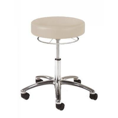 Graham Field: Hausted Physician Stool, D-Handle Release, Polished Aluminum Base - With Foot Ring - 9702-FR-AL