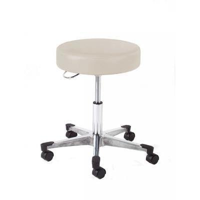 Graham Field: Hausted Physician Stool, D-Handle Release, Polished Aluminum Base - With Backrest - 9702-B-AL