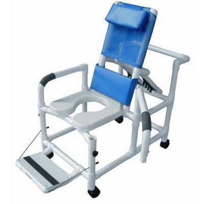 "Graham Field:	Lumex 20"" PVC Reclining Shower Commode Chair with Footrest, Swing Away Arms, Soft Seat and Safety Belt - 89330"